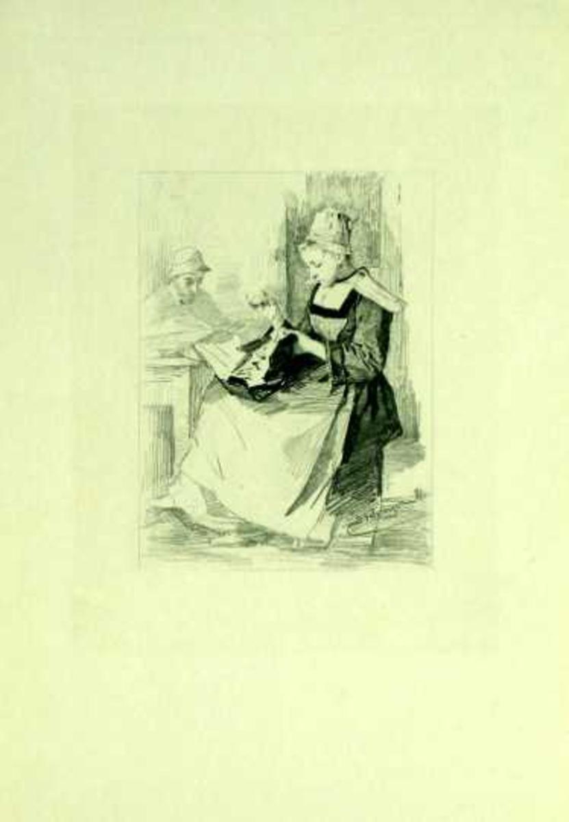 Ung jente sitter med håndarbeide.