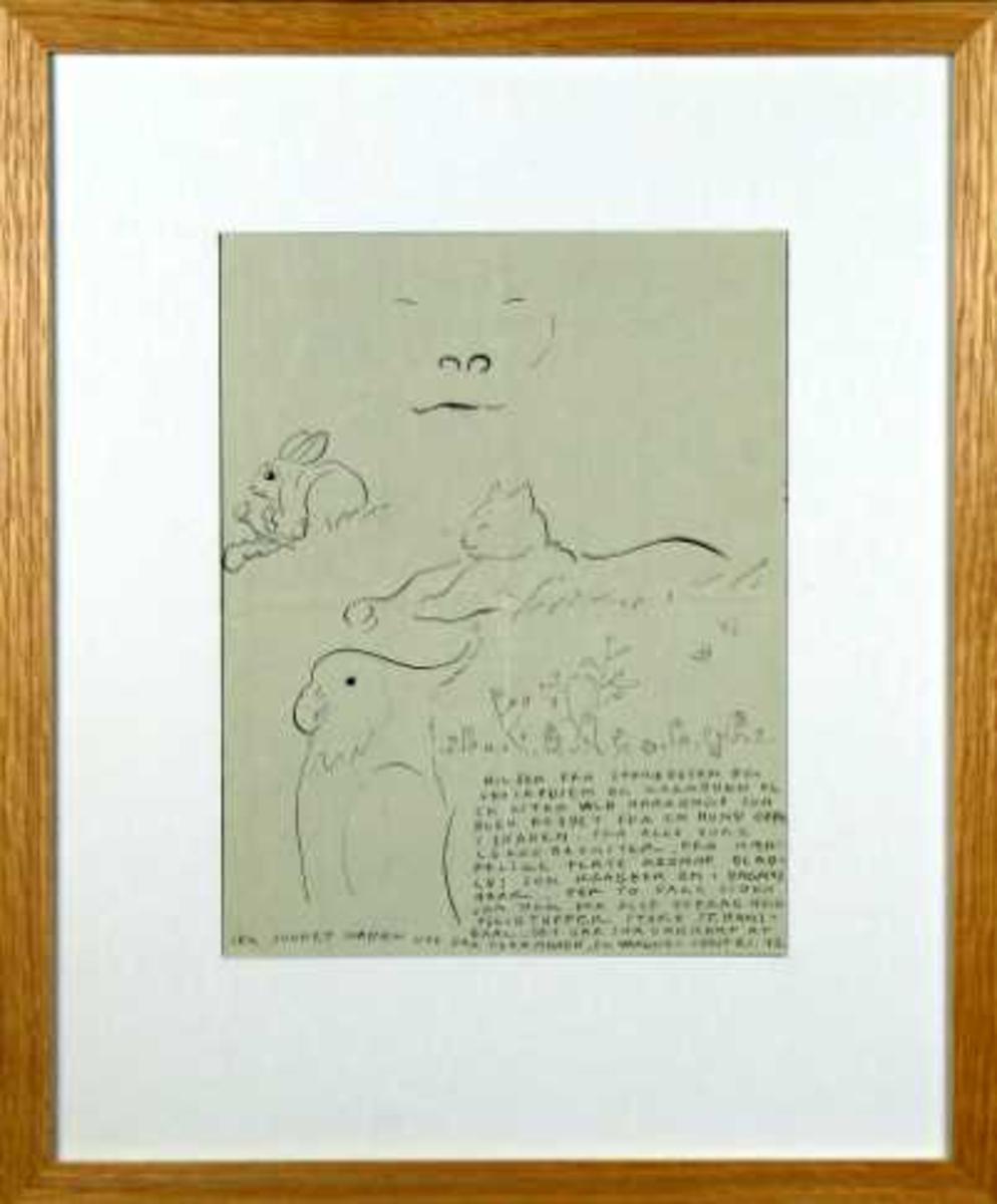 Tegning med brev på baksiden rammet inn med hvit passepartout og treramme.