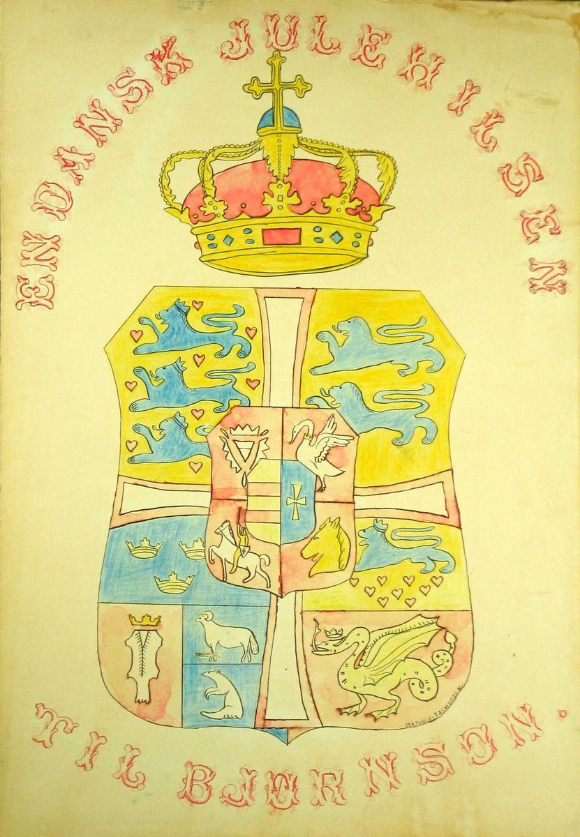 Stort heraldisk våpen med krone (dansk kongelig)