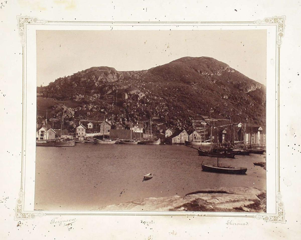 Fotografi limt på hvit kartong med gulldekor.