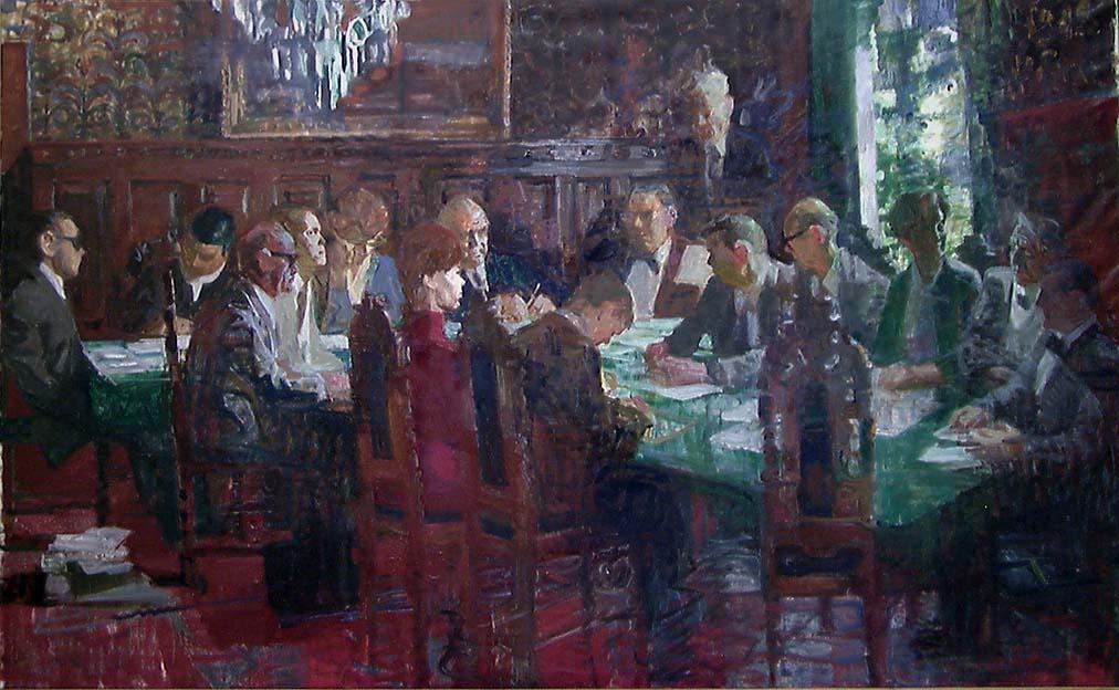 Gruppeportrett av Norsk Kulturråds første medlemmer [Maleri]