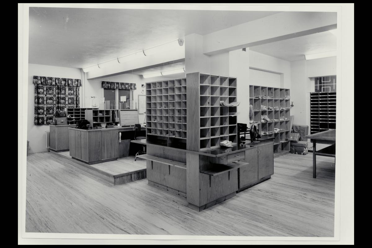 interiør, postkontor, 8400 Sortland, ekspedisjon, sorteringsreol