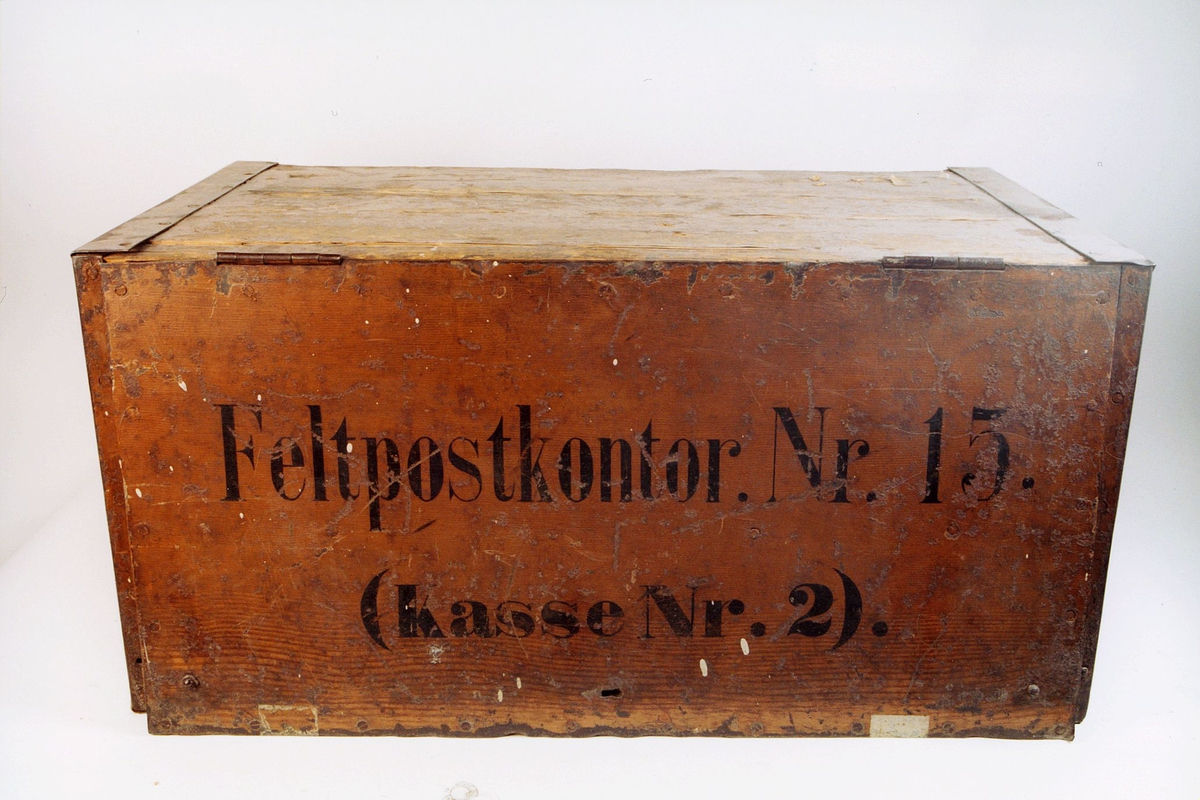 postmuseet, gjenstander, postemballasje, kasse, kiste, feltpostkasse, feltpostkontor nr. 15, kasse nr. 2