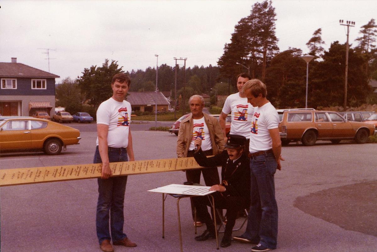 markedsseksjonen, filateli, bygningsarbeiderdagene'79, 1600 Fredrikstad, postuniform, posthorn, 5 menn