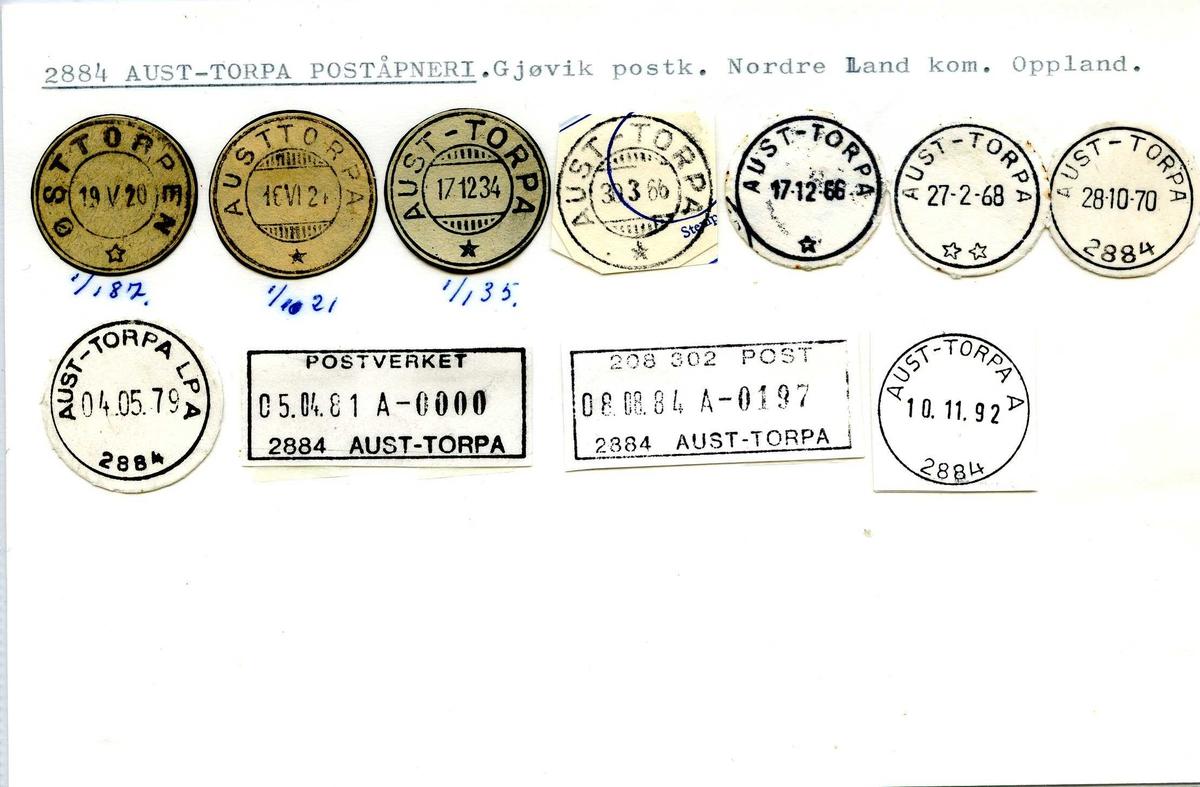 Stempelkatalog, 2884 Aust-Torpa, (Østtorpen, Austtorpa), Gjøvik, Nordre Land, Oppland