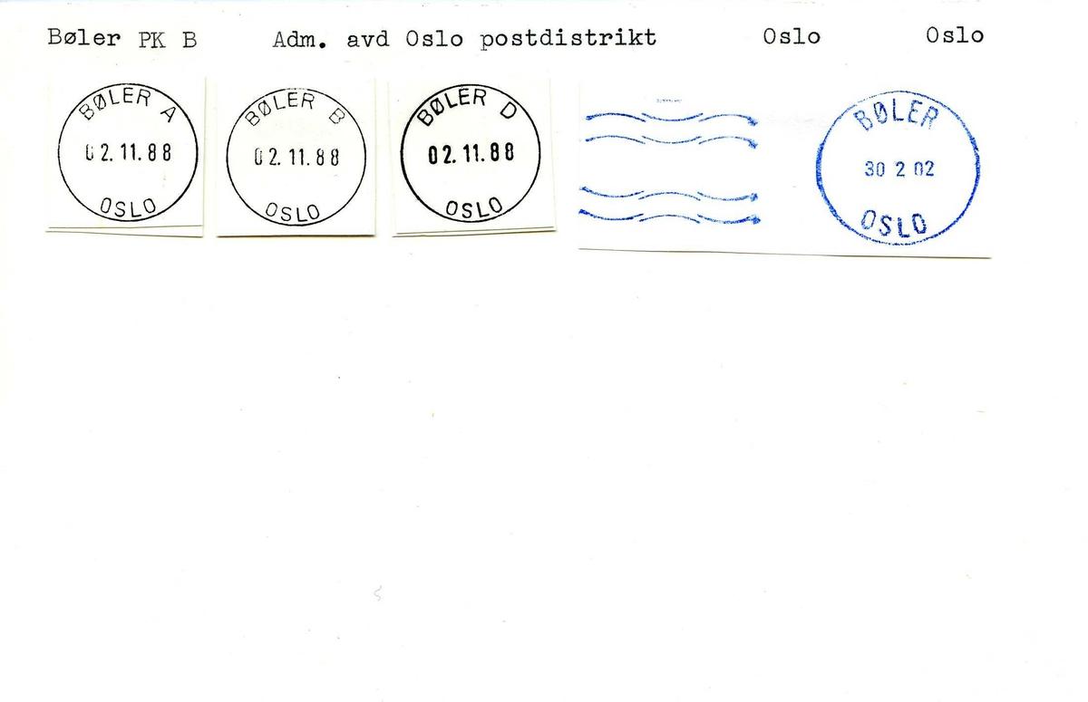 Stempelkatalog,Bøler PK B, Adm.avd Oslo postdistrikt, Oslo (Tidl. Bøler underpostkontor II)