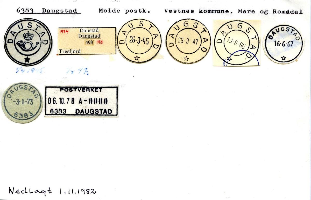 Stempelkatalog, 6383 Daugstad (Daustad), Molde, Vestnes, Møre og Romsdal