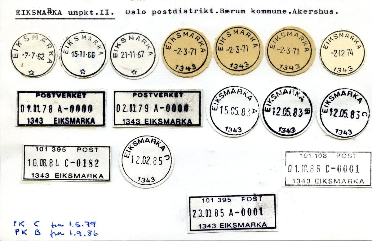 Stempelkatalog. Eiksmarka underpostkontor II - postkontor C. Oslo postdistrikt. Bærum kommune. Akershus.