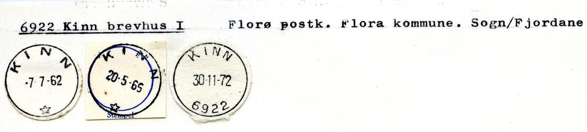 Stempelkatalog 6922 Kinn brevhus, Florø postk., Flora kommune, Sogn og Fjordane