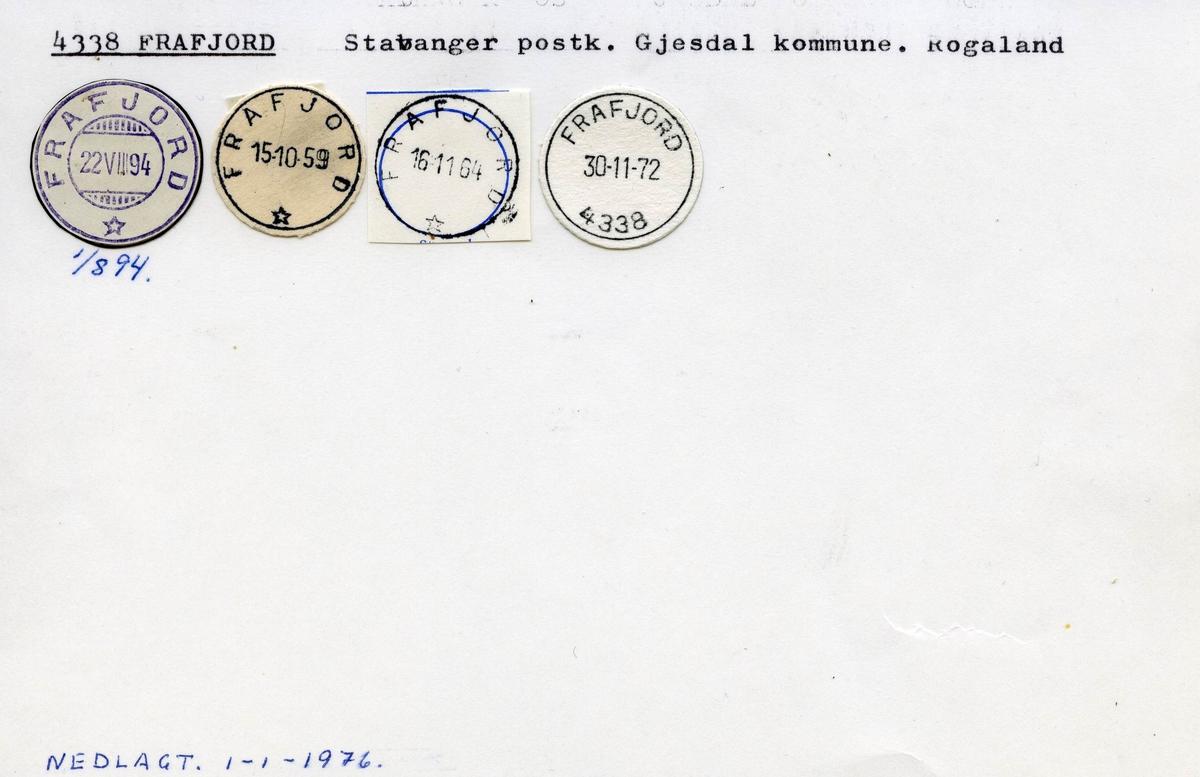 Stempelkatalog 4338 Frafjord, Gjesdal, Rogaland