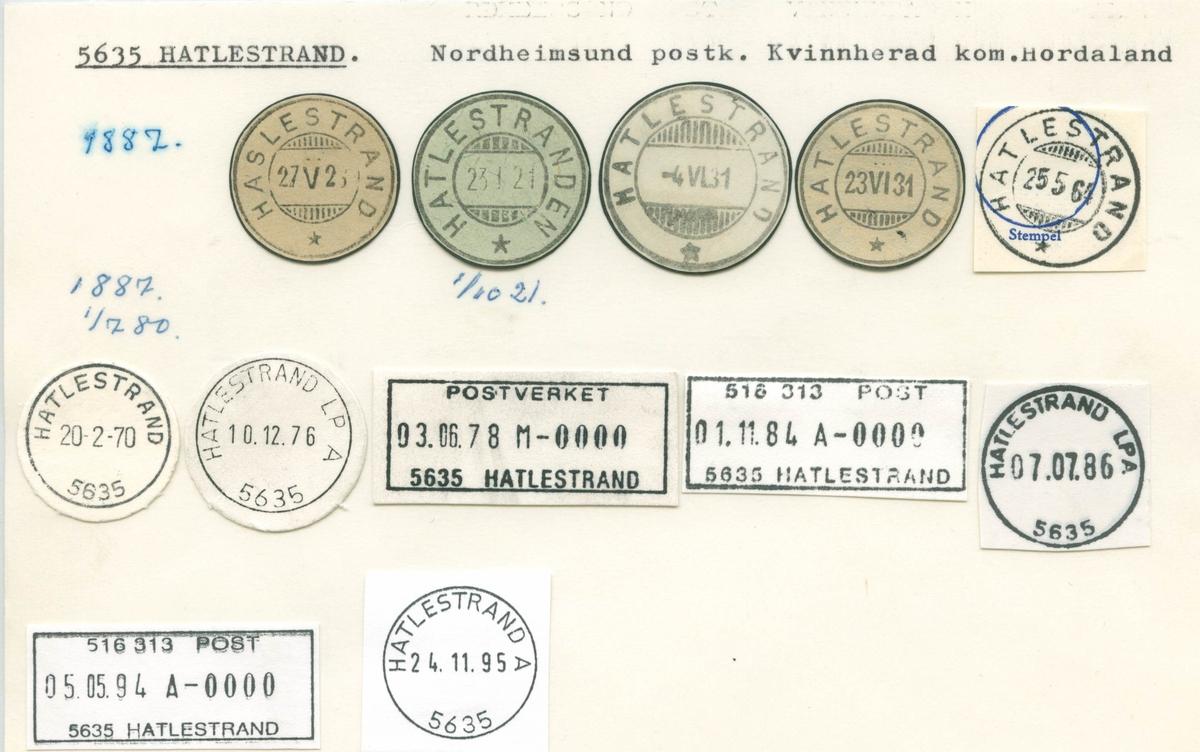 Stempelkatalog, 5635 Hatlestrand, Nordheimsund postk., Kvinnherad kommune, Hordaland (Haslestrand, Hatlestranden)