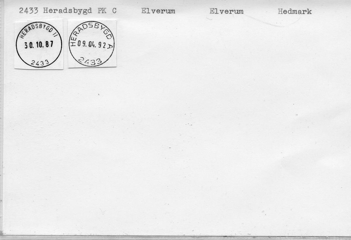 Stempelkatalog 2296 Heradsbygd (Søndre Elverum, Heradsbygden), Elverum, Hedmark