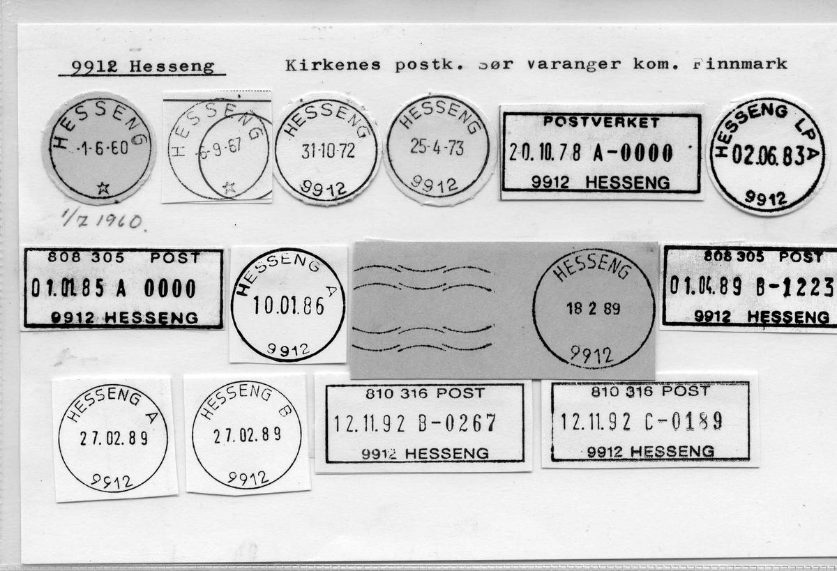 Stempelkatalog 9912 Hesseng, Kirkenes, Sør-Varanger, Finnmark