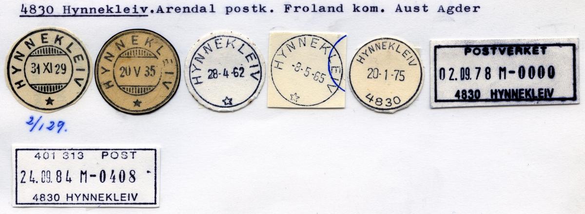 Stempelkatalog 4830 Hynnekleiv, Arendal postk, Froland kommune, Aust-Agder