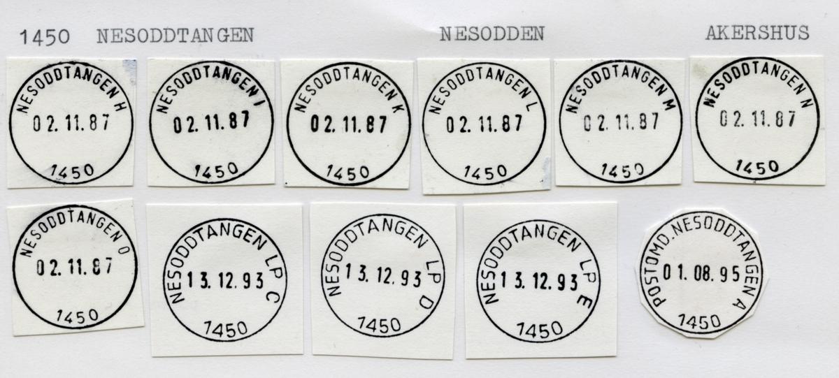 Stempelkatalog. 1450 Nesoddtangen. Oslo postdistrikt administrasjonsavdelingen. Nesodden kommune. Akershus fylke.