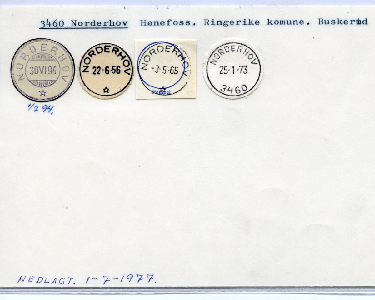 Stempelkatalog 3460 Norderhov, Hønefoss,Ringerike kommune, Buskerud (Norderhov landpoststasjon, Norderhov gamle Prestegård)