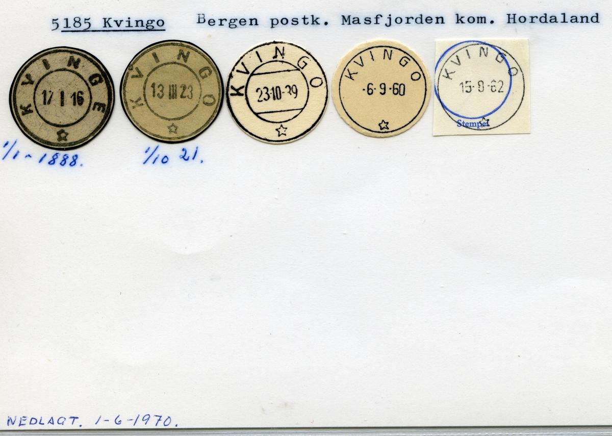 Stempelkatalog 5185 Kvingo (Kvinge), Bergen, Masfjorden, Hordaland
