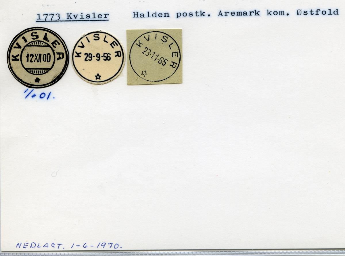 Stempelkatalog 1773 Kvisler, Halden, Aremark, Østfold