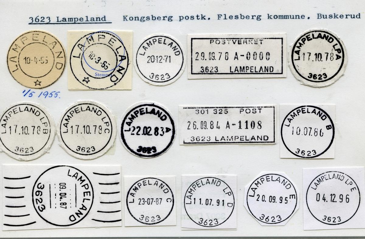 Stempelkatalog 3623 Lampeland, Kongsberg, Flesberg, Buskerud
