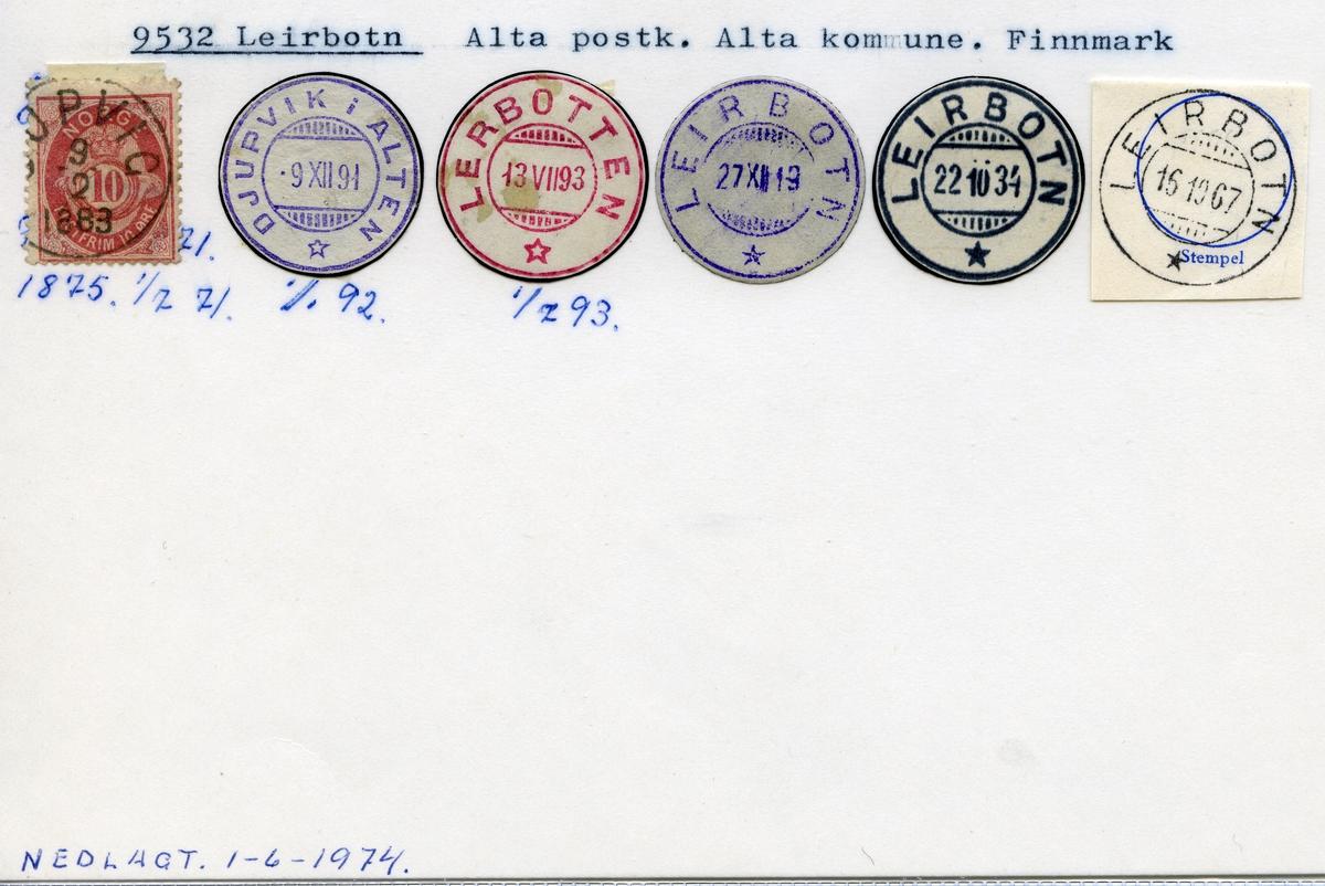 Stempelkatalog 9532 Leirbotn (Djupvik i Alten, Lerbotten), Alta, Finnmark