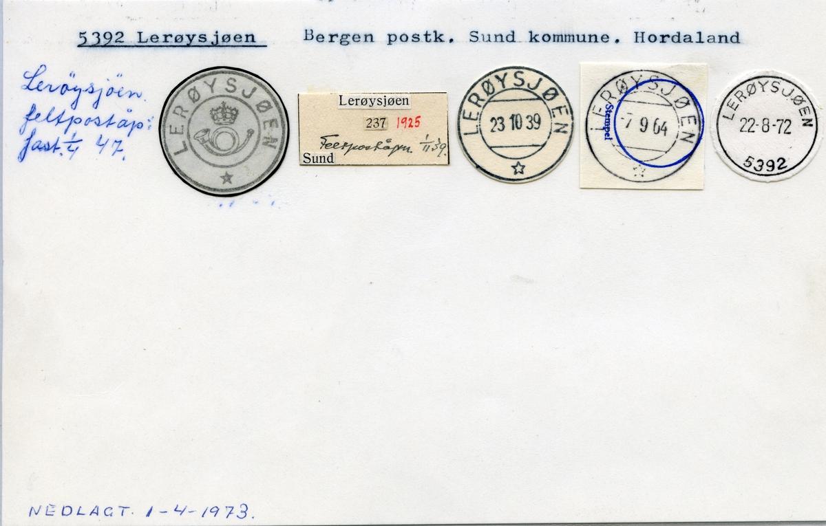 Stempelkatalog 5392 Lerøysjøen, Bergen, Sund, Hordaland