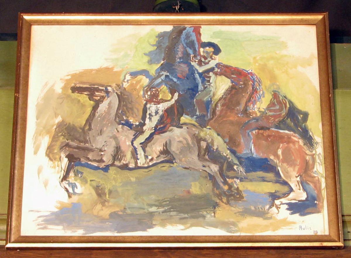 Rektangulært. prof., Skisse; hester; blått, grønt, brunt; 2 hester m. ryttere, 1 hest steilende sett forfra,