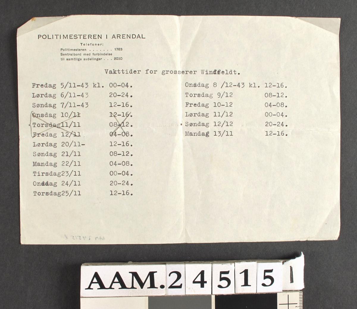 Borgervakt: vaktliste. Dokument, skrevet med skrivemaskin, utstedt av politimesteren i Arendal.