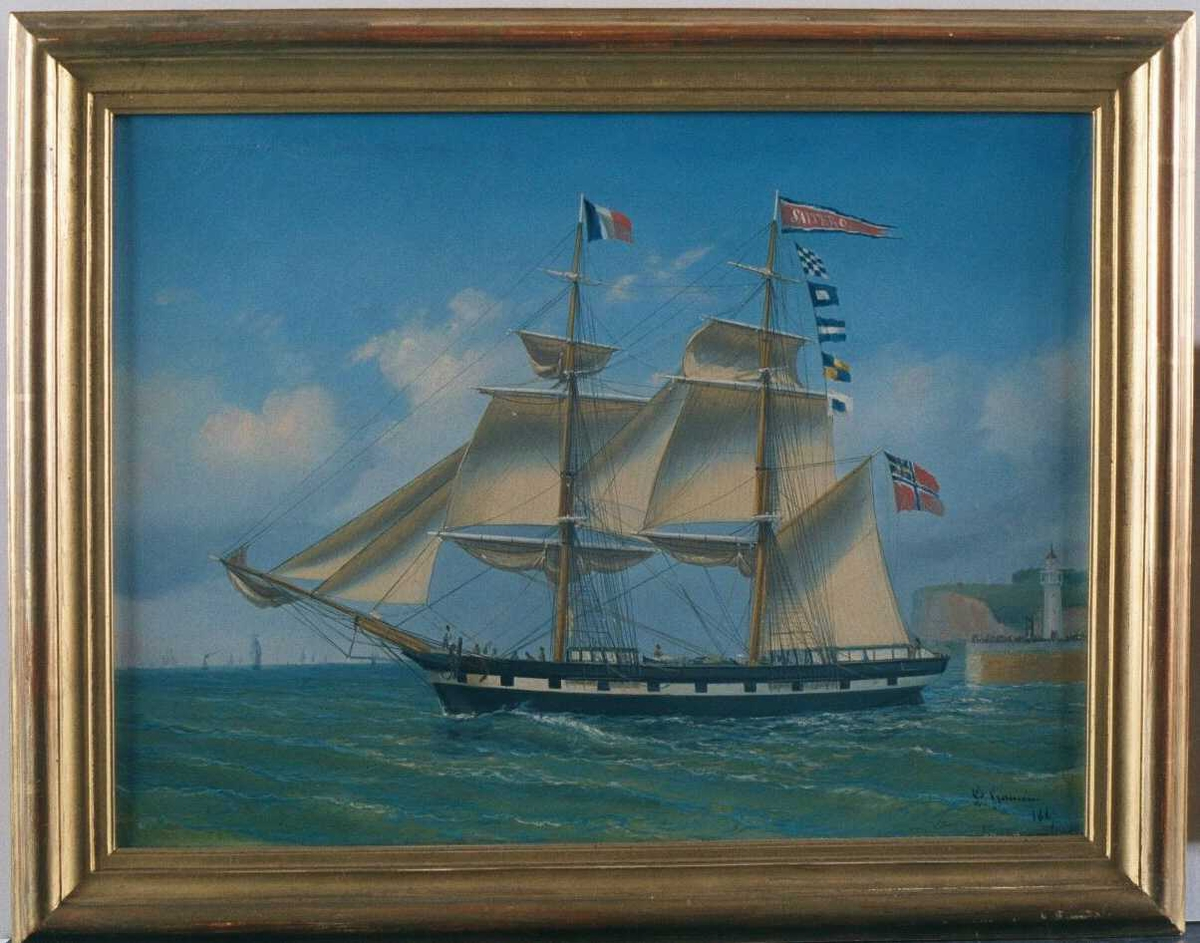 """Briggen """"Salterø""""  under utseiling fra Le Havre, ført av capt. Otto Vincent Lange Høyer, Arendal, tricoloren  på formasten, unionsflagg på gaffelen, vimpel m. """"Salterø"""" i  hvitt på rødt, kantet m. hvitt og blått.  Sort skrog m. hvit stripe m. """"kanonporter""""."""