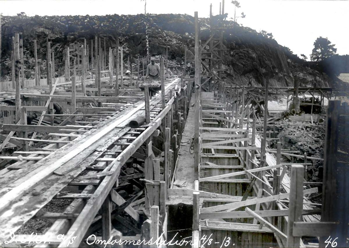 """""""14/08-1913"""" Nitriden. Forskalinger for omformerstasjon."""
