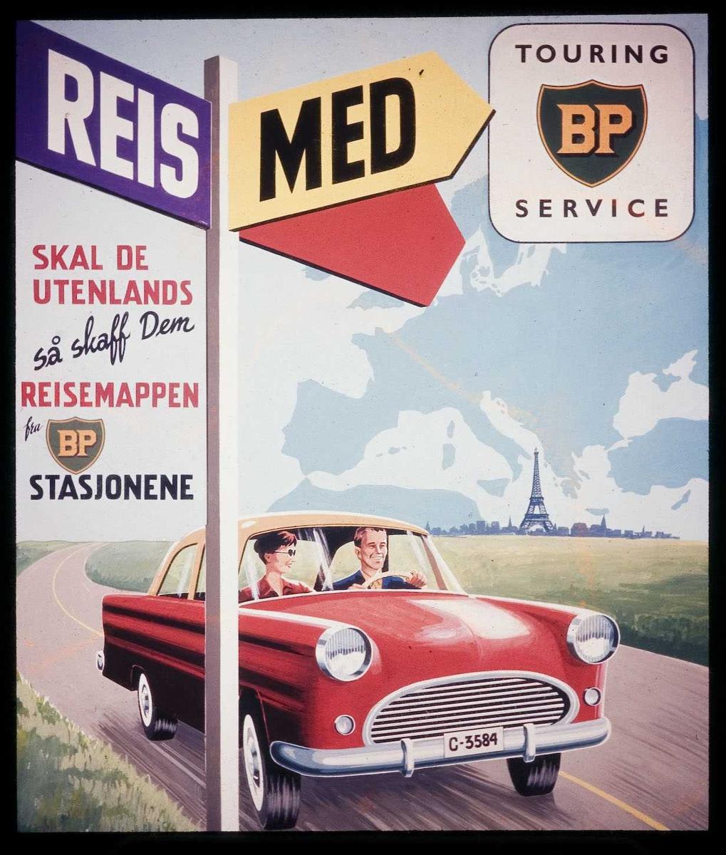 Kinoreklame fra Ski for BP. Reis med BP touring service. Skal De utenlands så skaff Dem reisemappen fra BP-stasjonene.