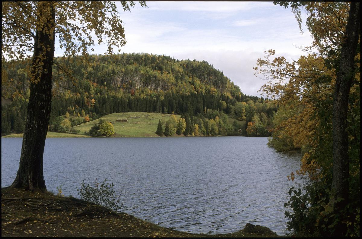 Slependen, Semsvannet, Utsikt fra Tveter gård mot skaugumsåsen. Vann i forgrunn.