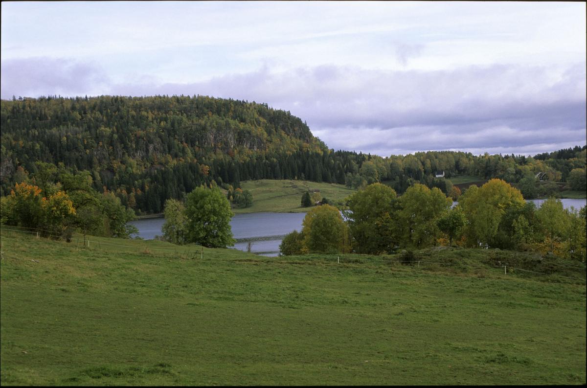 Semsvannet, utsikt fra Tveter gård. Vann i forgrunnen. Skaugumsåsen i bakgrunnen.