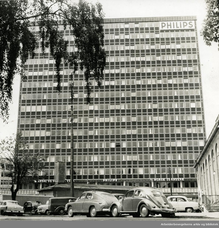 Philipsbygget i Sørkedalsveien på Majorstua (oppført 1958 - revet 2000),.ca. 1960