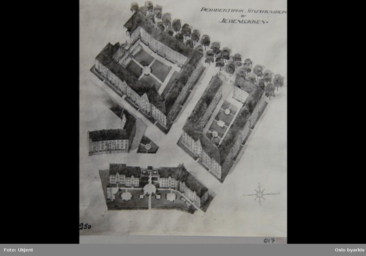 """Tegning / Plan over Jessenløkken-kvartalene. Sannsynligvis fra 1920-tallet. Albumtittel: """"Fotografier over Kristiania kommunes boligbebyggelse II""""."""