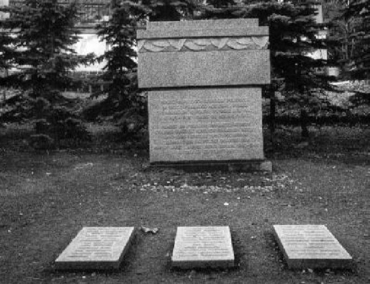 Krigsminnesmerke Relieffsmykket minnesmerke. Stein med tverrligger prydet med bladbord. Polsk øgle og kors på toppen. 3 liggende steiner foran. Granitt, svart og hvit (kors på toppen). Øgle i jern. Høyde ca 2,2 m.