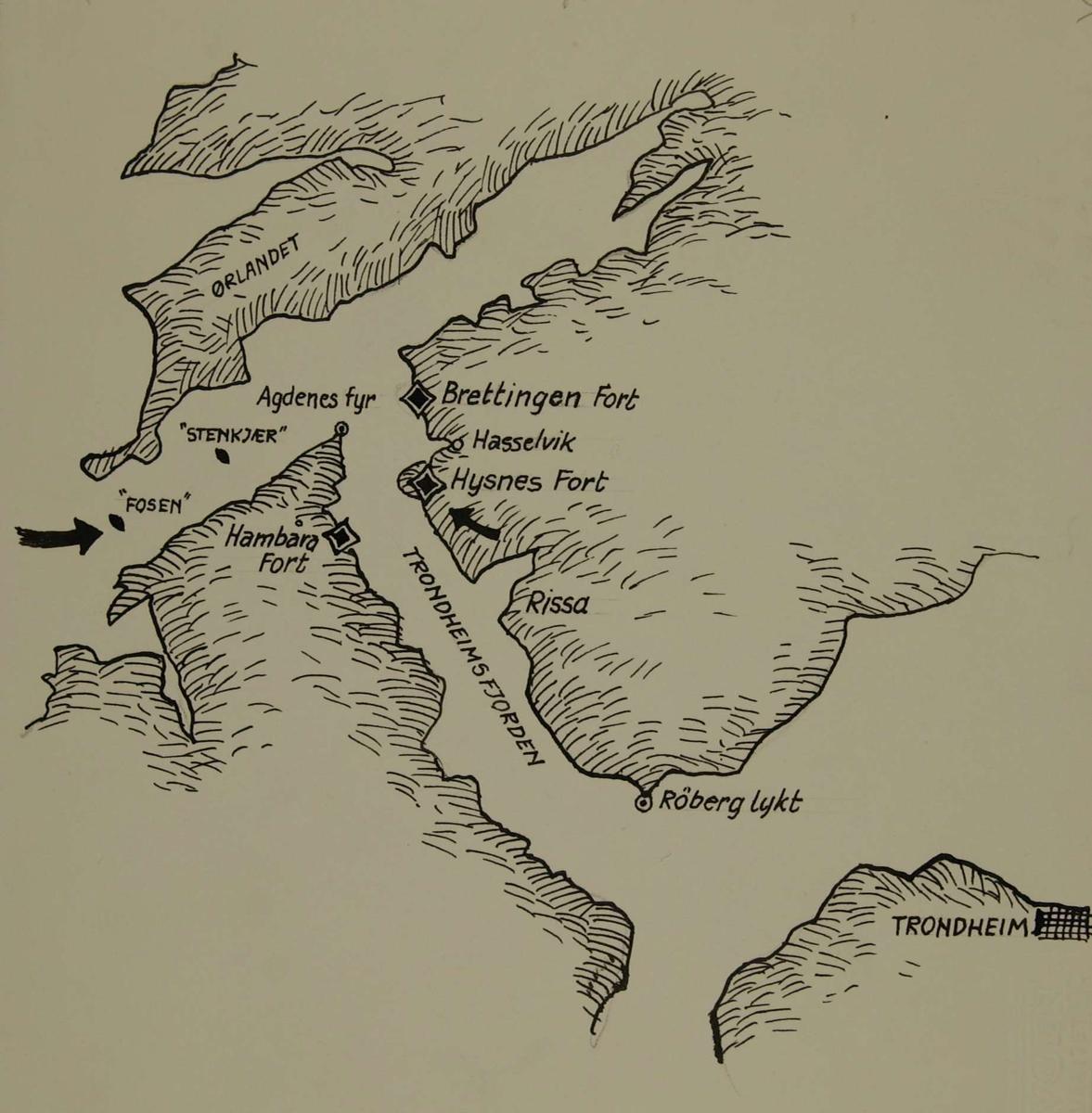 kart over agdenes Kart over området Agdenes   Brettingen fort   Trondheimsfjorden  kart over agdenes
