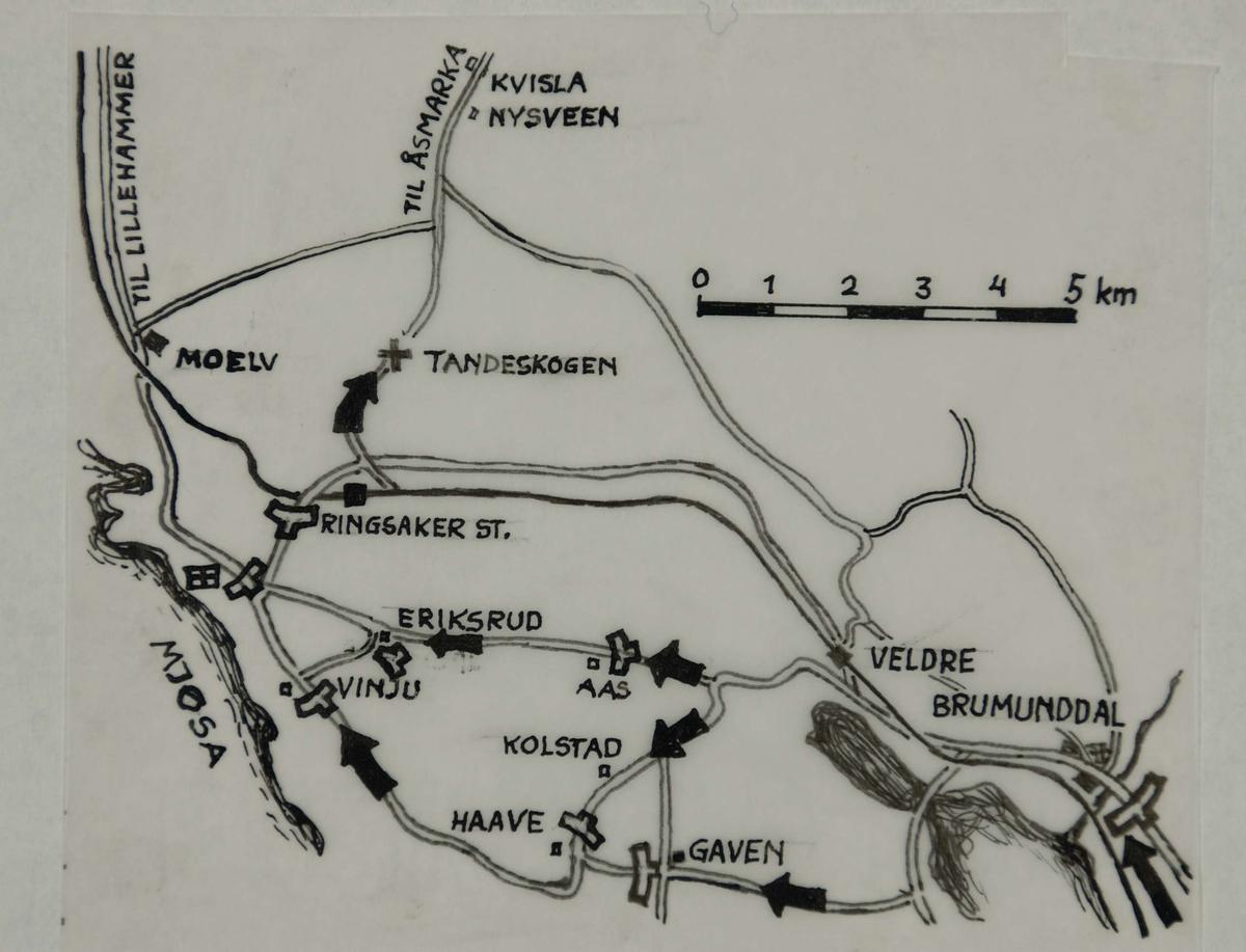 kart moelv Kart over området Moelv   Brumunddal.   Forsvarets museer