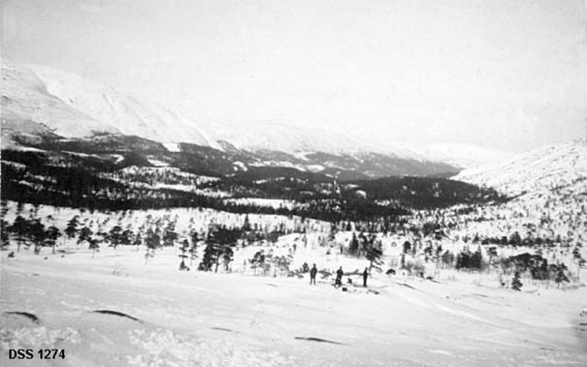 Eiterådal sett fra Ståvassheia.  Fotografiet er tatt fra ey høyt punkt ned mot en snødekt dal med en del barskog, omgitt av høye, trebare fjell.  På en rabbe i forgrunnen står tre mannlige skiløpere.