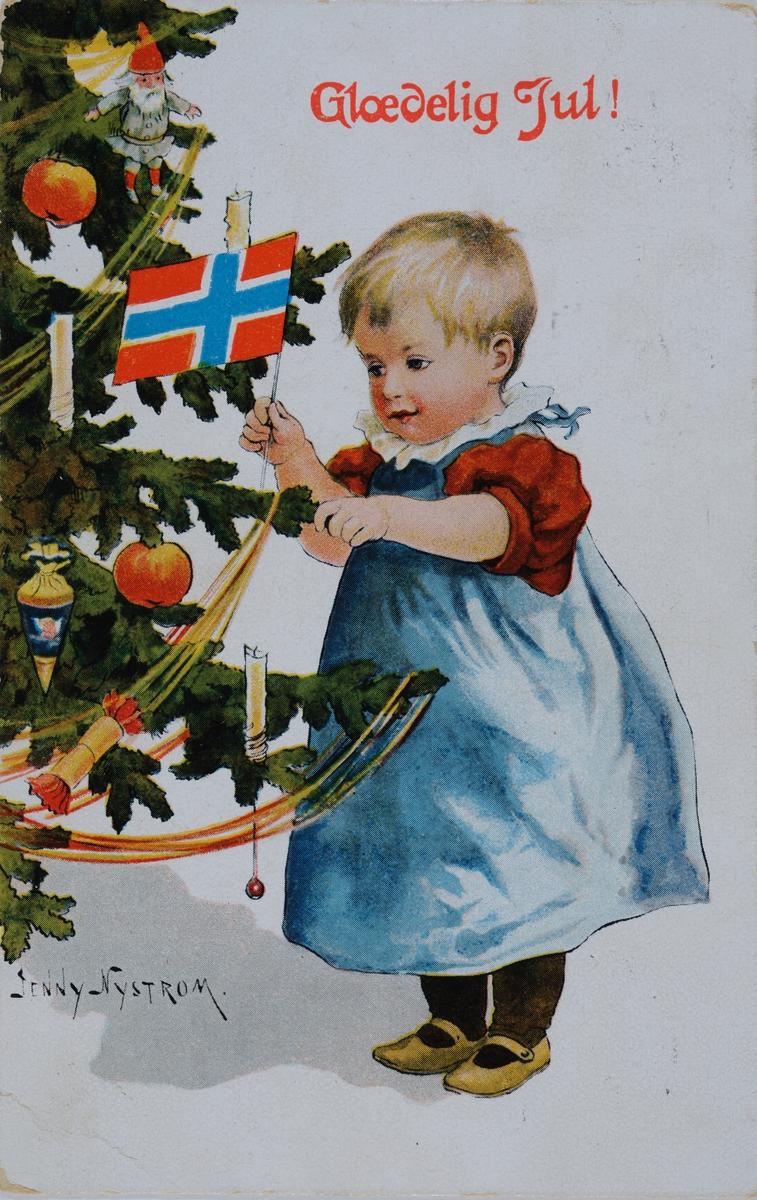 Julekort. Barn ved juletre. Malt av Jenny Nystrum.