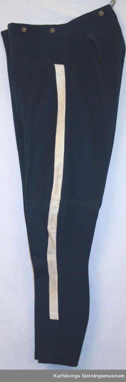 Rdibyxa m/1895. Inga def. Byxan har vid yttersömmen galon i vitt, 50 mm. Den har två helsneda fickor på framsidan. Spänntampar bak för reglering av midjevidden. Nederdelen vid yttersömmen har ett 210 mm långt knäppbart sprund. Gylfen knäppes med fem knappar och en hyska vid midjebandet som har knappar för hängslen.