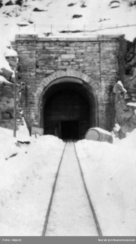 Tunnelportal ved vegovergang Bergsåsen tunnel (nord for Snåsa), anleggets pel 4574