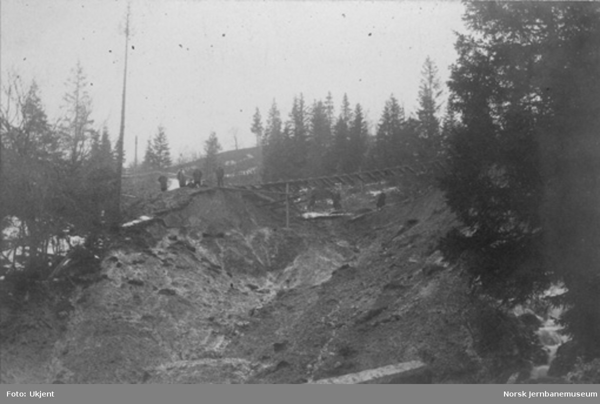 Ras nord for Selsbakk gamle stasjon, omtrent ved Dovrebanens km 547,05, våren 1886