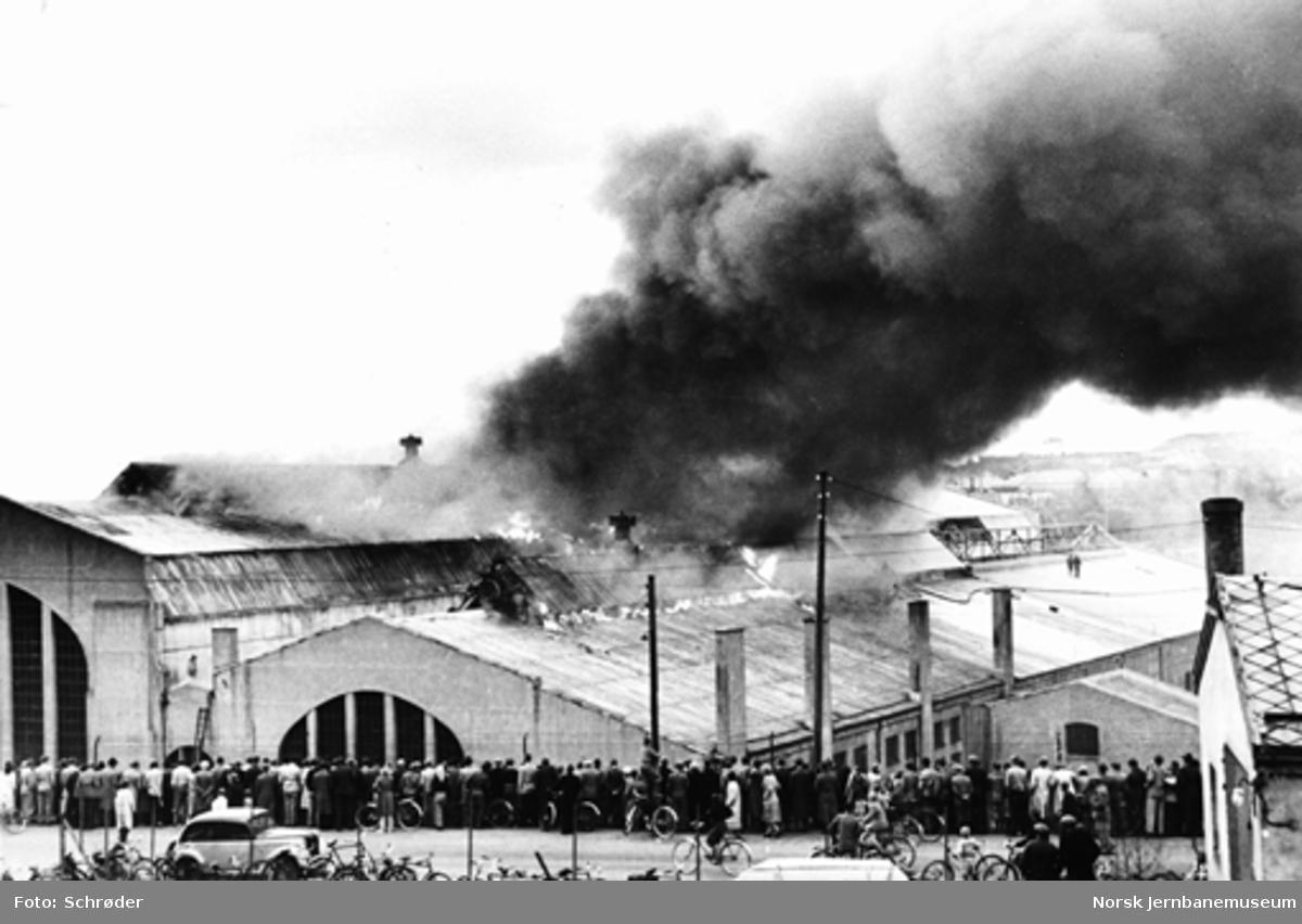 Brann i maskinhallen på Verkstedet Marienborg