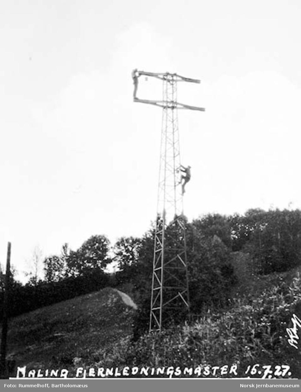 Elektrifisering Drammen-Kongsberg : maling av fjernledningsmast