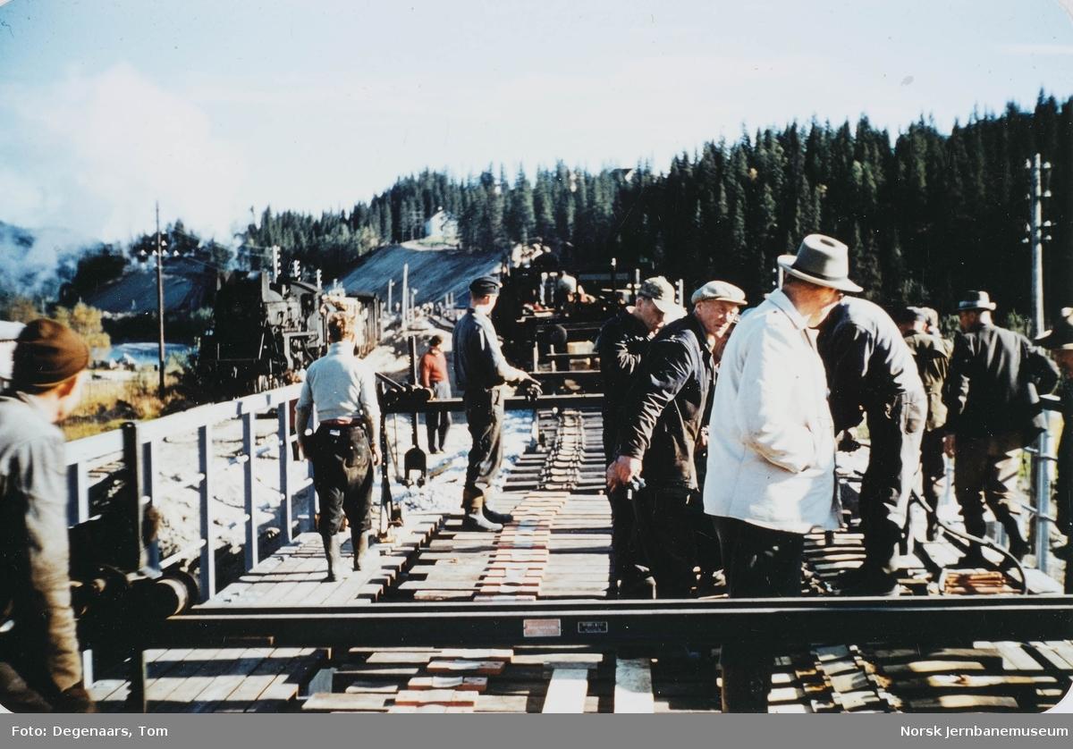 Bygging av ny bru over Tverråga : passerende tog
