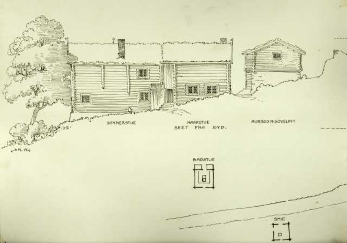 Johan J. Meyers tegning (1911) av gårdstun, Vigenstad, Dovre, Oppland.